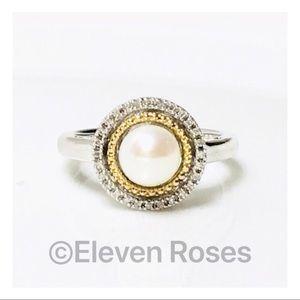Alwand Vahan Sterling 14k Pearl Diamond Halo Ring